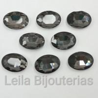 Chaton De Cristal Oval Black Diamond 13x18mm Para Colagem 8 Peças