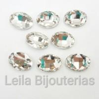 Chaton De Cristal Oval Transparente 13x18mm Para Colagem 8 Peças