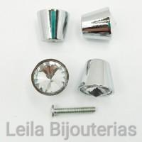 Puxador de Cristal Níquel 21mm Para Gaveta-Porta-Móvel 1 Peça