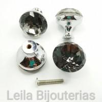 Puxador de Cristal Black Diamond Níquel 30mm Para Gaveta-Porta-Móvel 1 Peça