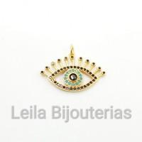 Pingente Olho Com Cílios Cravejado de Zircônia Preta e Azul 17 x 27mm Dourado 1 unidade