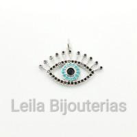 Pingente Olho Com Cílios Cravejado de Zircônia Preta e Azul 17 x 27mm Níquel 1 unidade