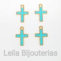 pingente Cruz com Resina Azul Bebê 13mm X 11mm Dourada 4 unidades