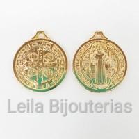 Pingente Medalha De São Bento 22mm Dourada 2 unidades