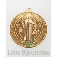 Pingente Medalha De São Bento 46mm Dourada 1 unidade