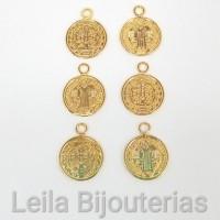 Pingente Medalha De São Bento 12mm Dourada 6 unidades